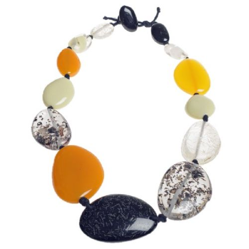 A Jackie Brazil Long Flat Riverstone Necklace in Natural Mix 3